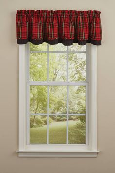 SPORTSMAN PLAID LINED LAYERED VALANCE 72X16 Black Curtains, Drapes Curtains, Curtain Valances, Valance Patterns, Kitchen Window Treatments, Kitchen Valances, Better Homes, Home Kitchens, Home And Garden
