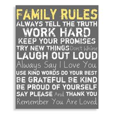 Family Rules Canvas Wall Art - Grey Dining Room