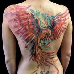 large bird on back | watercolor tattoos