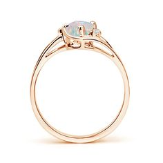 Angara Solitaire Cabochon Opal Ring with Diamonds in White Gold FPQ2zsBoW
