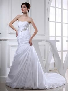 2014 Style Trumpet Mermaid Sweetheart Beading Sleeveless Court Trains Taffeta Wedding Dresses For Bride