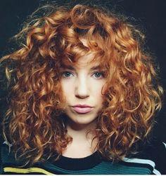 46 Pretty Short Hairstyles Ideas Curly Hair - Hairstyles For All Curly Hair Styles, Curly Hair With Bangs, Long Curly Hair, Wavy Hair, Curly Ginger Hair, Curly Girl, Perms For Short Hair, Naturally Curly Hair, Wild Curly Hair