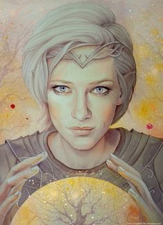 "Galadriel, when she was given the name of Nerwen (""Man-Maiden""). Potentially she shortened her hair in insult to Feanor, after he requested a lock of it for the twinned lights it contained. Fantasy Kunst, Fantasy Art, Illustrations, Illustration Art, Character Inspiration, Character Design, Into The West, Mystique, Jrr Tolkien"