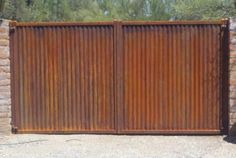 rusty corrugated steel gate