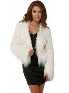 White Faux Fur Coat With Hood