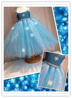 Elsa Snowflakes Tutu Dress.   Frozen Tutu Dress. Elsa Tutu Dress. Elsa Bow. Beautiful & lovingly handmade.   Price varies on size, starting from £25.  Please message us for more info.   Find us on Facebook www.facebook.com/DiddyDarlings1 or our website www.diddydarlings.co.uk