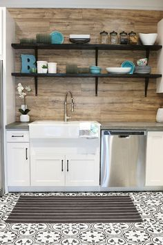 Love this spread out area- perfect for a kitchenette/bathroom combo like I'm looking for!