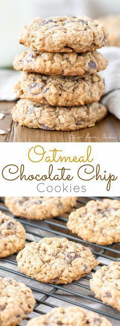 Soft and chewy oatmeal chocolate chip cookies | http://livforcake.com
