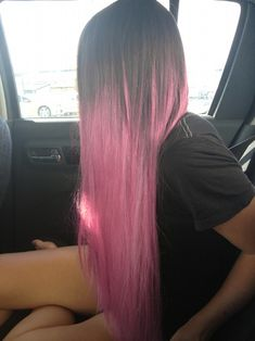 dark roots pink dip dye ombre rose