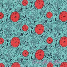 I see this as backing fab for an aqua and red quilt I want to make. Find it at Pink Chalk Fabrics: Felicity Miller Charleston Farmhouse Dahlia Leaf