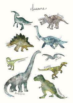 Illustration Enfant Dinosaurs as Premium Poster by Amy Hamilton Dinosaur Drawing, Dinosaur Art, Dinosaur Prints, Dinosaur Posters, Animal Posters, Tyrannosaurus Rex, Canvas Prints, Art Prints, Boy Room