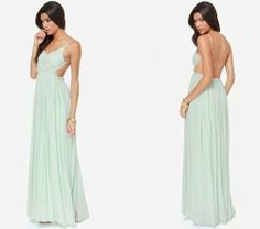 Stunning and sexy mint pastel maxi dress for summer 2014 from Lulu's with V-neck crochet top, open back and flowy skirt