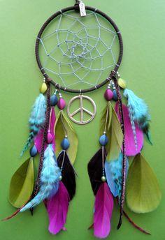 Dream Catcher - Peace - Bright, Bold, Vibrant - Aqua blue, pink, green