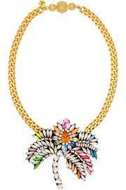 ShouroukPalm Tree gold-plated Swarovski crystal necklace
