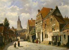 Willem Koekkoek (Amsterdam 1839-1895 Nieuwer-Amstel (thans Amstelveen)) Zomers straatgezicht - Kunsthandel Simonis en Buunk, Ede (Nederland).