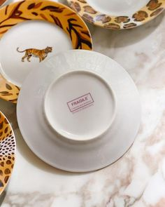 Patricia Deroubaix Porcelain Jungle Collection, 6 inch Plates, Set of – Nice Vintage Things Plate Sets, 6 Inches, Chips, Porcelain, Plates, Collections, Nice, Tableware, Vintage