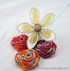 Handmade Zipper rose & petal flowers from @Habercraftey Crafts Crafts - unique zip craft art