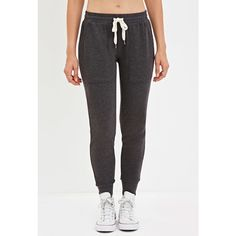 Forever21 Drawstring Sweatpants ($20) ❤ liked on Polyvore featuring activewear, activewear pants, forever 21 activewear, forever 21, drawstring sweat pants, sweat pants and lightweight sweat pants