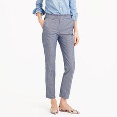 "The perfect chambray pant, updated with a ruffle trim at the waist. Now that's what we consider ""classic with a twist."" <ul><li>Sits at hip.</li><li>Fitted through hip and thigh with a slim, cropped leg.</li><li>27"" inseam.</li><li>Cotton/elastane.Machine wash.</li><li>Import.</li></ul>"