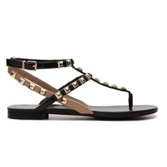 b90d058dbcab8 BCBGeneration Studded Thong Sandal Two-tone (Black and Nude) faux leather  and faux