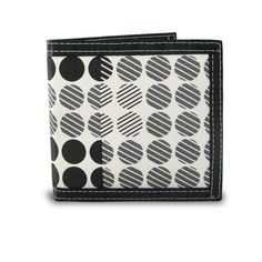 Men's Bifold Screen Print Canvas Dot Pattern Wallet The Men's Bifold Screen Print Canvas Dot Pattern Wallet features a bold, modern dot pattern in black, white, and gray that's sure to match any style.  Its bifold design keeps it slim and compact so it easily slips in and out of your pocket. Plus, it has a durable, long-lasting design with its canvas fabric that fits comfortably in your pocket.