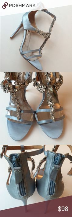 """Like New! Badgley Mischka Heels Like New! Badgley Mischka Heels...something blue?...ultra-chic silhouette...ice blue satin open-toe sandals with back zipper and ankle straps/buckle closure...rhinestone embellishments at vamp...double strap detail over toe...leather sole...4"""" wrapped heel...used once on set...excellent condition. Retail $265 Badgley Mischka Shoes Heels"""