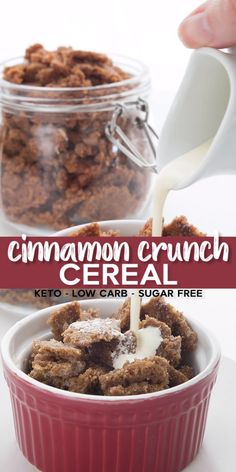 Keto Cinnamon Crunch Cereal - Keto Recipes - Ideas of Keto Recipes - Hooray you can have cereal again! This super easy grain-free and sugar-free cereal is a fabulous way to jazz up your healthy breakfast. I swear it tastes just lie an oatmeal cookie. Sugar Free Cereal, Keto Cereal, Crunch Cereal, Low Carb Cereal, Cinnamon Cereal, Cinnamon Crunch, Cinnamon Oatmeal, Gourmet Recipes, Healthy Recipes
