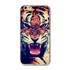 Case For Apple iPhone 7 6 6s Case 7Plus 5 5s SE Soft Silicone TPU Animal Tiger Lion Phone Bag Cover Back Cases Capa Coque Fundas