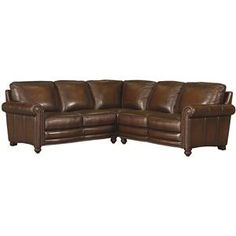 Bassett Hamilton Traditional L-Shaped Leather Sectional with Nail Head Trim - Becker Furniture World - Sofa Sectional
