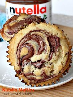 Nutella Muffins are to die for! A delicious muffin batter is swirled with Nutell… Nutella Muffins are to die for! A delicious muffin batter is swirled with Nutella spread making one fantastic muffin for breakfast. Great for holidays! Muffin Recipes, Baking Recipes, Cookie Recipes, Breakfast Recipes, Dessert Recipes, Kraft Recipes, Breakfast Muffins, Nutella Breakfast, Breakfast Ideas