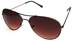 Aviator Style Sunglasses Bronze Color Metal Frame Men Women Brown Lens *** Click on the image for additional details.Note:It is affiliate link to Amazon.