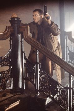 Harrison Ford, Blade Runner Love the scenes filmed in the terrific Bradbury Building. Film Blade Runner, Blade Runner 2049, Harrison Ford Blade Runner, Cyberpunk, Bradbury Building, Man In Black, Tv Movie, Sean Young, Sci Fi Films
