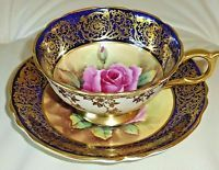 Rare Vintage Paragon Cobalt Tea Cup & Saucer w/ Huge Pink Rose & Gold Tea Cup Set, Cup And Saucer Set, Tea Cup Saucer, Glass Tea Cups, China Tea Cups, Vintage Pottery, Vintage Tea, Tea Cup Display, Silver Tea Set