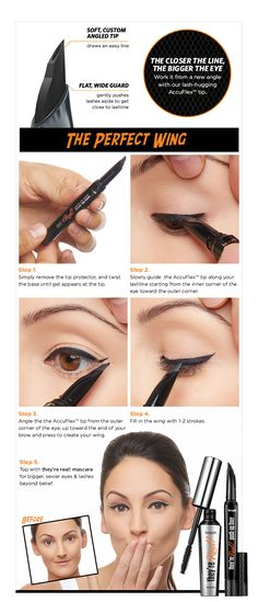 the closer the line the bigger the eye. learn how to get the perfect wing with they're real push up liner.