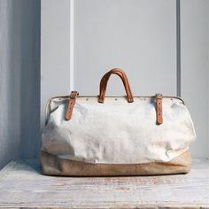 Vintage Canvas Tool Satchel / Carry On, Luggage, Duffel Bag
