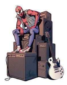 Spider-Punk by Djibril Morissette-Phan Hq Marvel, Marvel Comic Universe, Marvel Dc Comics, Marvel Heroes, Amazing Spiderman, Rock Chic, Glam Rock, Comic Books Art, Comic Art