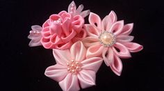 3 tone Pink Kanzashi Flower  Can be attached to hair clip or