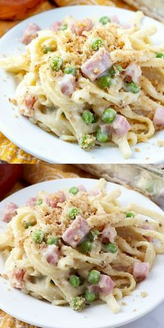 Creamy Ham Fettuccine BakeThis creamy Ham Fettuccine Bake is a scrumptious, rib-sticking meal that everyone raves about! Easy to prepare and ready in 30 minutes!Ingredients - 1 pound spaghetti pasta - 1 tablespoon salt - 1 pound thick cut bacon or pa Pork Recipes, Gourmet Recipes, Dinner Recipes, Cooking Recipes, Healthy Recipes, Recipes For Ham, Recipes With Diced Ham, Cheap Recipes, Cooking Bacon