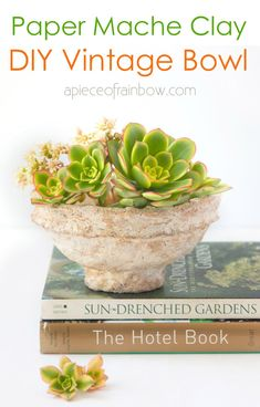 Make vintage paper mache bowls from easy DIY paper clay! Beautiful handmade crafts, great for primitive, boho, farmhouse & modern home decor! – A Piece of Rainbow, papier mâché, table decorations, living room, French country, designer knockoff, Anthropologie, aged, weathered paint finish, distressed, painting