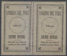 Peru 1924 Sellos Oficiales Sc Unlisted Drummond os24z Panel de dos Doble perfs Mnh