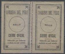 Peru 1924 Sellos Oficiales Sc Unlisted Drummond os24z Panel de dos Doble perfs Mnh
