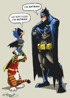 My kind of superhero - Calvin and Hobbes vs Batman Dc Comics, Comics Und Cartoons, Funny Comics, Calvin And Hobbes Comics, Batgirl, Catwoman, Comic Books Art, Comic Art, Humour Geek