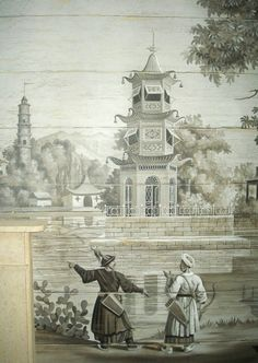 This image is not taken from my NYC gallery, but could have been part of the series.  Mine, I have been told, is called 'Decor Chinois' and in French circa 1805.  I find the scenes and grisaille colorings enchanting.