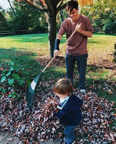 When I was younger I used to love jumping in leaf piles during the fall. So, today I raked a leaf pile together for my baby cousin to jump in and turns out he loves it just as much as I did