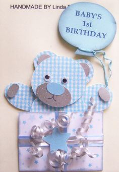 3D Baby's 1St Birthday Card Craft Topper, Embellishment 1Stbd-Boy