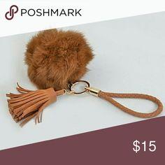 Fur ball keychain Faux fur ball with tassel braided keychain Accessories Key & Card Holders