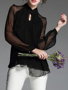 Plain Silk Long Sleeved Top