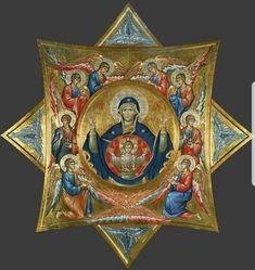 Theotokos with the Angels Religious Photos, Religious Icons, Religious Art, Byzantine Icons, Byzantine Art, Greek Icons, Church Icon, Religion, Christian Artwork
