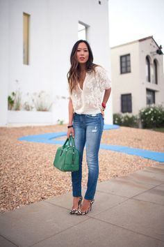 cute jeans and white top