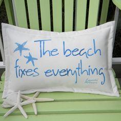 Beach Fixes Everything Blue Outdoor Pillow | Seaside Artisans